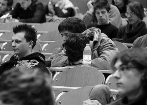 Student asleep in lecture class